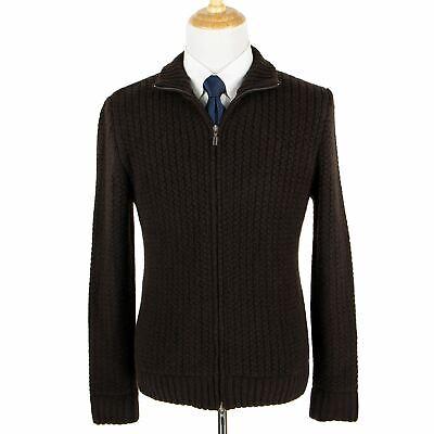 NWT Schiatti Brown 100% Cashmere Rib Knit Heavy Bomber Sweater Jacket 58EU/3XL Heavy Knit Jacket