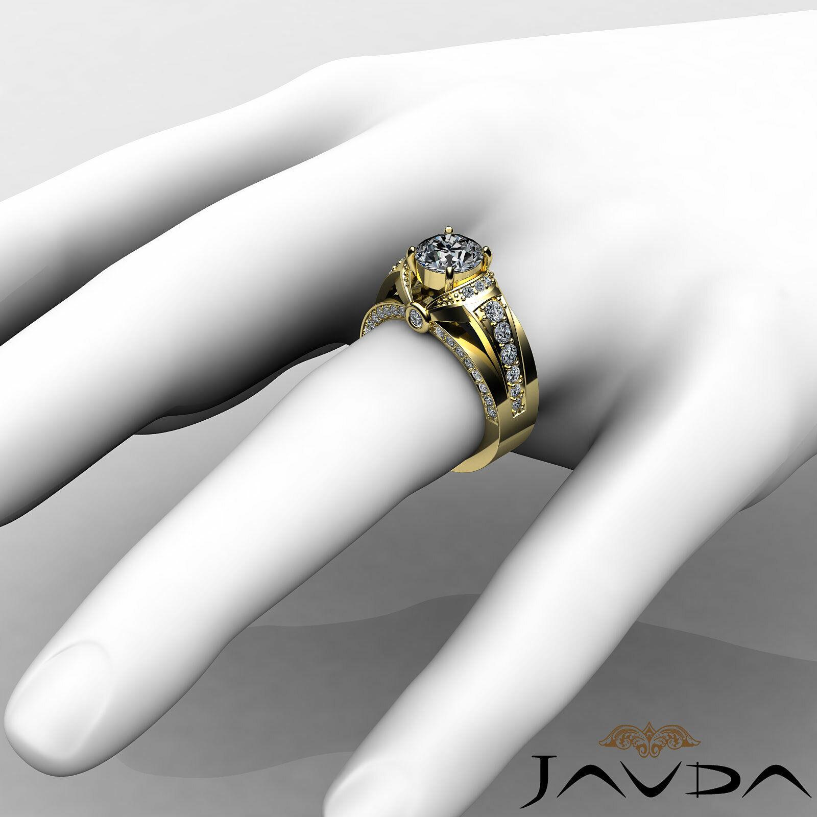 1.7ct Knot Classic Sidestone Round Diamond Engagement Ring GIA H-VVS2 White Gold 10
