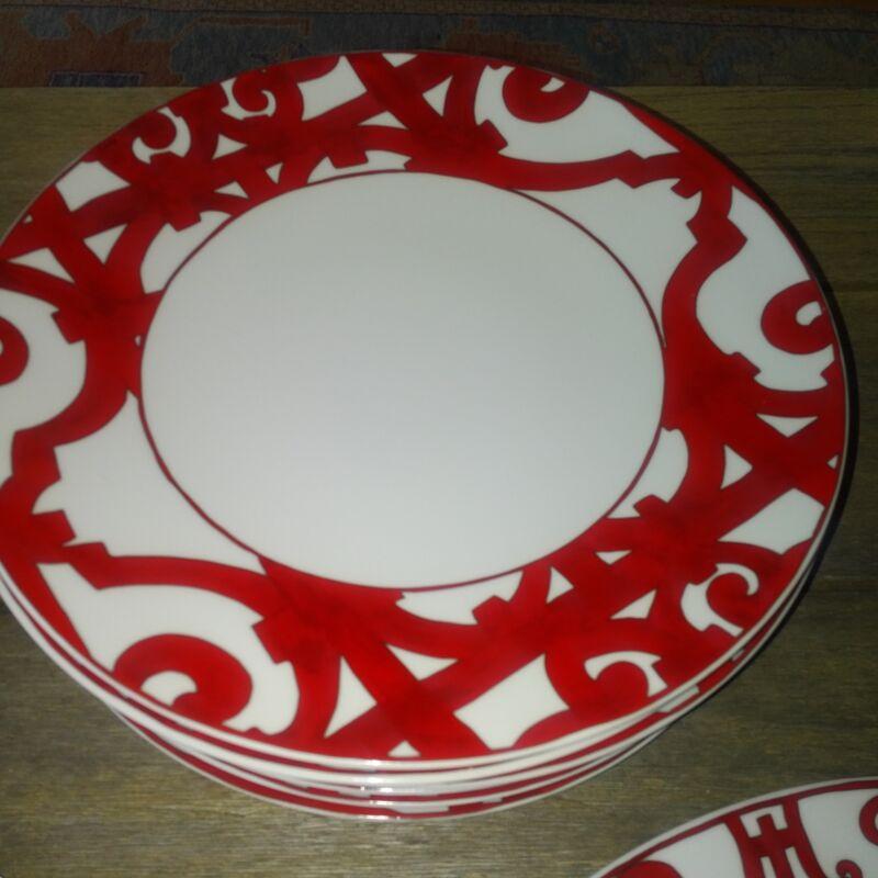 Hermes Balcon du Guadalquivir Red Porcelain Service Dish/Charger