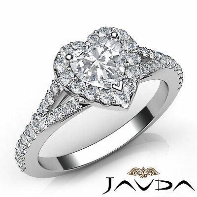Classic Heart Diamond Engagement Halo Pave Ring GIA H VS2 Clarity Platinum 1Ct