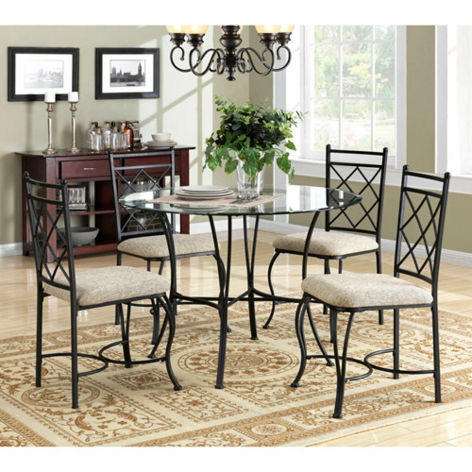 Dining Table Set Glass Top Metal Legs Kitchen Formal ...