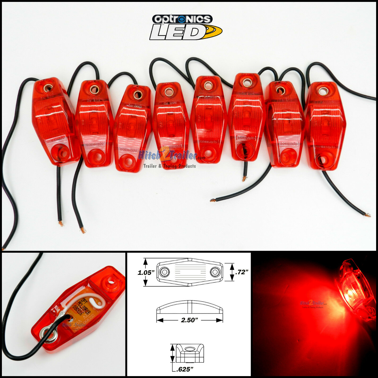 8 - Optronics Red LED light Clearance Marker Trailer Truck Surface Mount 1 wire