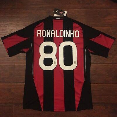 2010/11 AC Milan Home Jersey #80 Ronaldinho XL Adidas Brazil Soccer NEW image