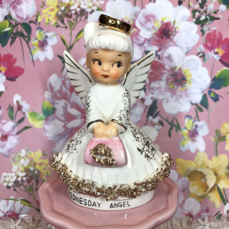 Vtg Norcrest Wednesday Angel Girl Pink Purse Figurine Japan Repaired & New Halo