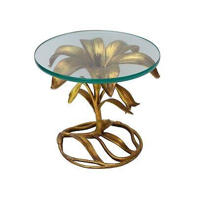 Gilt Lily Side Table by Arthur Court Hollywood Regency Cast Aluminum Gold