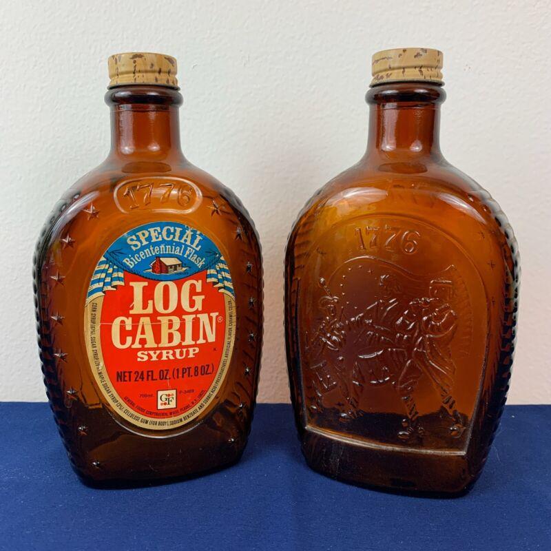 Lot of (2) 1776-1976 Bicentennial Brown Log Cabin Syrup Bottle USA Eagle Emblem