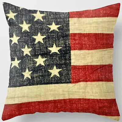 18'' Super Soft Cotton American Flag Stars and Stripes Pillow Cushion Cover RC26 ()