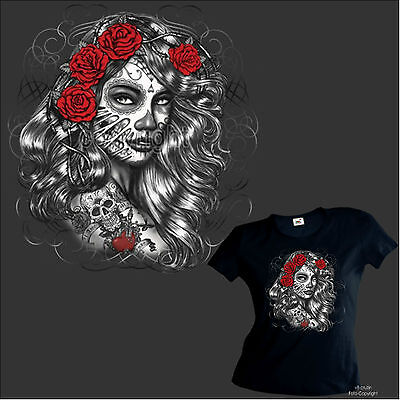 * T-Shirt Damen Girlshirt Tattoo Flash latino Skull dia de los muertos *1021