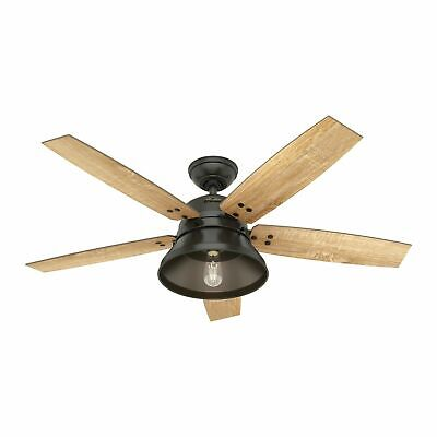 "Hunter 52"" Rustic Farmhouse Noble Bronze Outdoor Damp LED Remote Ceiling Fan"