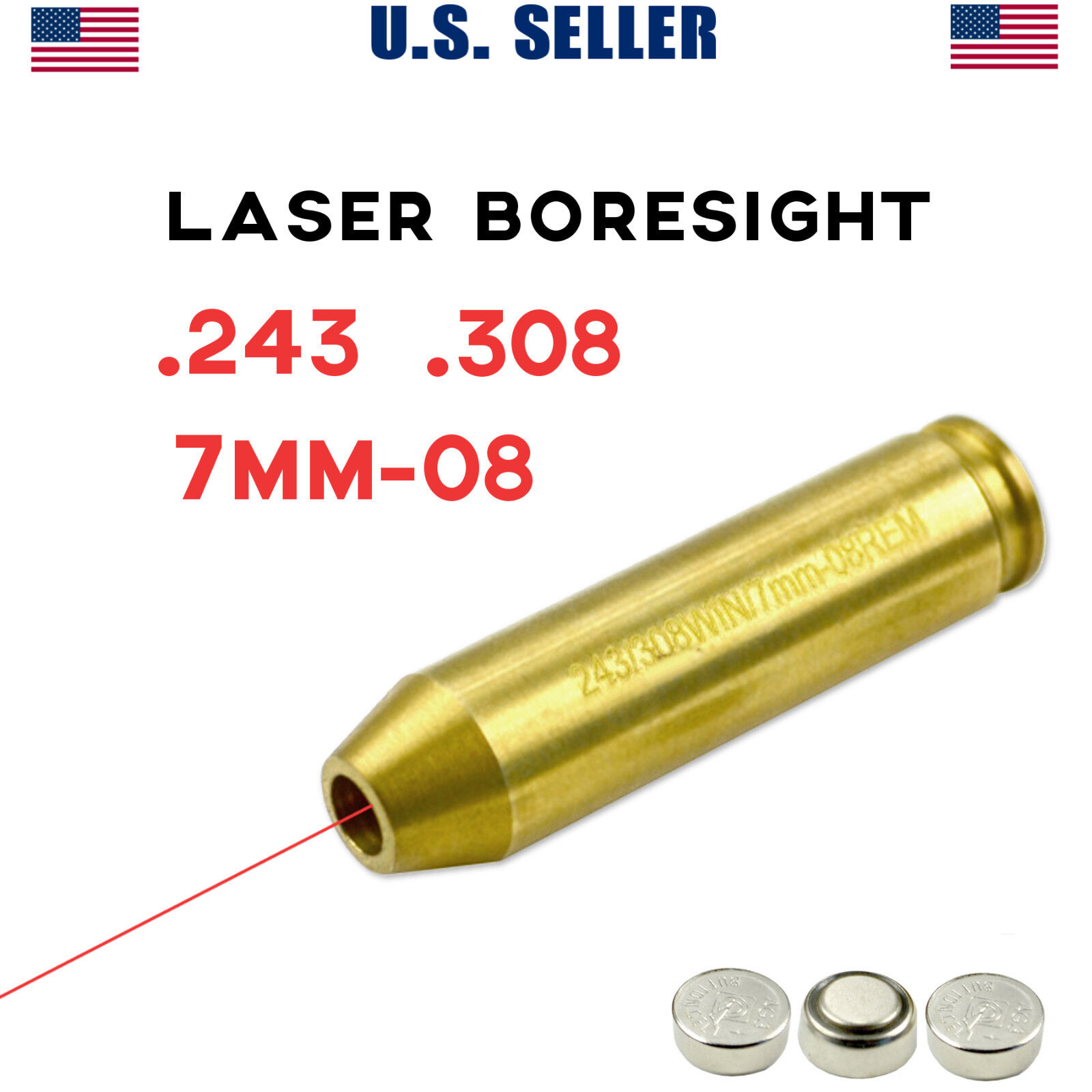 Details about  243  308 7mm-08 Rem LASER BORESIGHT For Zeroing In Rifle Gun  Scope Bore Sight
