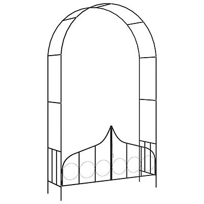 Metal Arbour Rose Arch with Door Garden Pergola Climbing Plants Arches Black