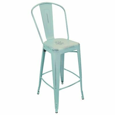 New Oversized Viktor Steel Restaurant Bar Stool With Distressed Sky Blue Finish