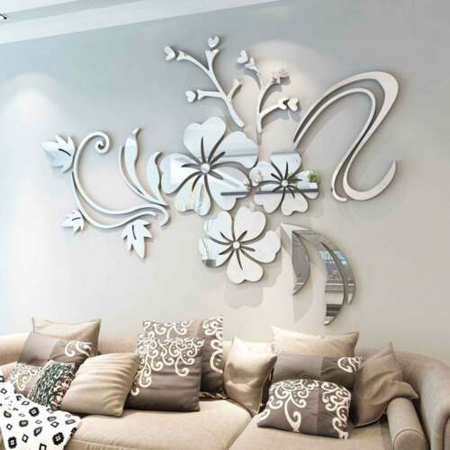 Home Decoration - 3D Mirror Flower Removable Wall Sticker Art Acrylic Mural Decal Wall Home Decor