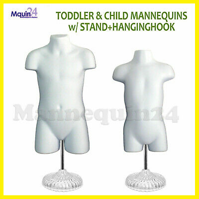 Child Toddler Torso Dress Form Mannequin Set White Kids W2 Stands 2 Hangers