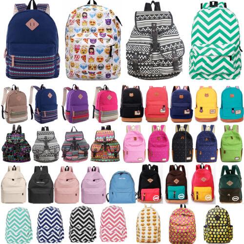 Womens Girl Canvas Backpack Rucksack Schoolbag Book Bag Trav