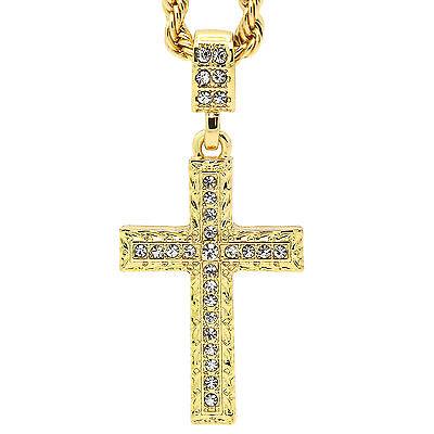 (Hip Hop 14k Gold Plated  Zagged Pattern Cross Pendant 24