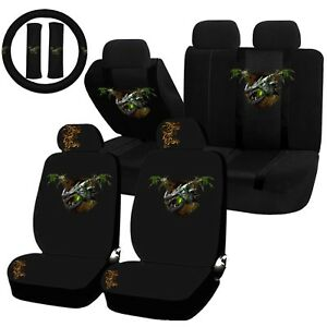 22PC Earth Dragon Green Nature Element Seat Covers Steering Wheel Set Universal