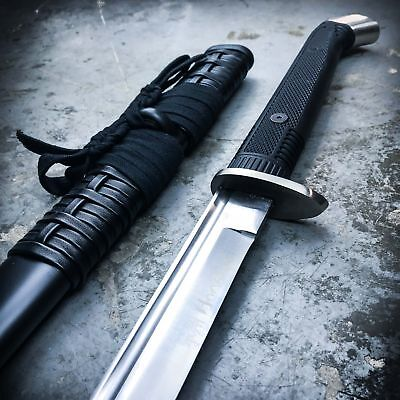BATTLE READY Samurai Ninja Japanese Katana Sword Full Tang Carbon Steel - Black Ninja Sword