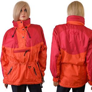 Vtg Couloir SHELL JACKET Technical Pullover BC Ski Coat Womens Orange Colorblock