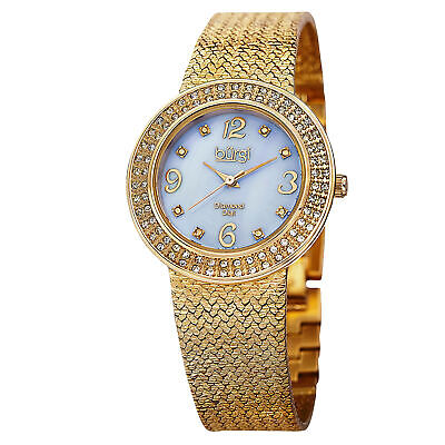 New Women's Burgi BUR097YG Swiss Diamond Blue MOP Dial Mesh Bracelet Watch
