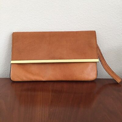 "Vintage Leather Clutch Tan W/ Gold Accent 10"" x 6"" Excellent Condition"