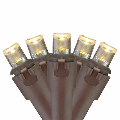 Brite Star 70 Warm White LED Wide Angle Icicle Christmas Lights - Brown Wire
