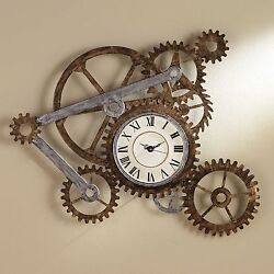Old Fashioned Wall Clock Metal Rustic Modern Industrial Steampunk Bedroom Decor