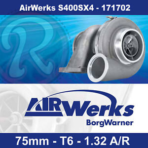 Borg Warner AirWerks S400SX4 Turbo-75mm-T6-Twin Scroll-1.32 A/R 500-1050hp-
