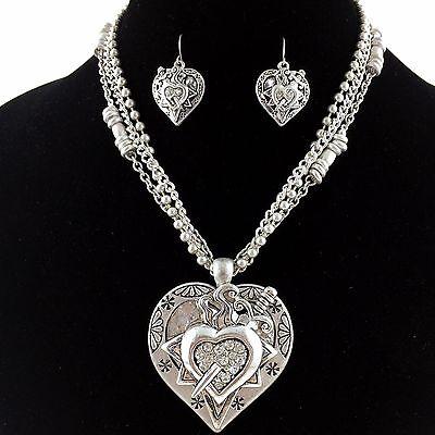 - Premium Vintage Western Silver Dagger Through Heart Rhinestone Necklace Earring