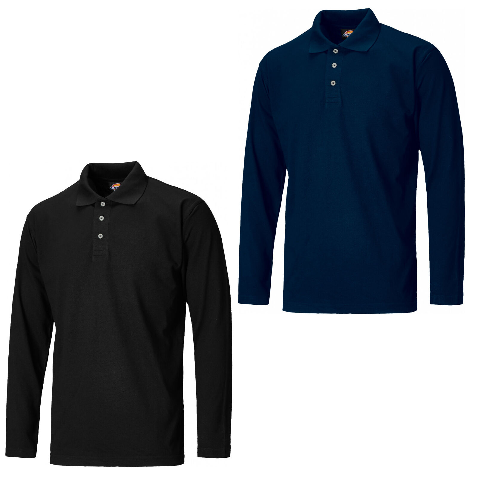1353feb65118 Details about Dickies Long Sleeve Polo Shirt Mens Durable 3 Button Work T- Shirt SH21100