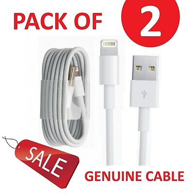2x Genuine Charger & Sync USB Data Cables lead For I Phone 5/5c/5s/6/7 ipad