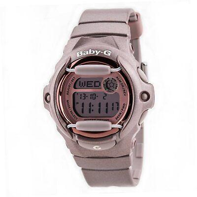 Casio Women's BG169G-4 Baby-G Grey Dial Databank Alarm Pink Resin Digital Watch