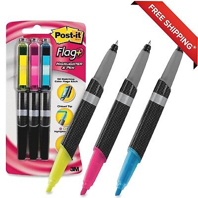 Pack Of 3 Post-it Flag Highlighter And Black Pen Combo- Assorted -free Shipping