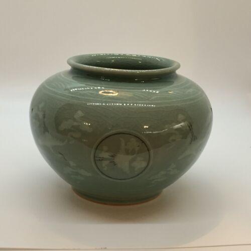 """Vintage Green Glazed Celadon Vase Crane & Cloud Motif 4"""" Korean Signed Ceramic"""