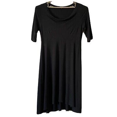 Eileen Fisher L Viscose Jersey Stretch Midi Dress Drape Neck 1/2 Sleeve $198