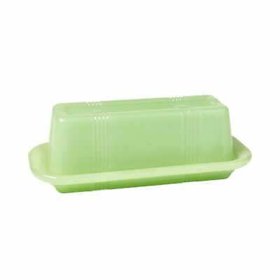 Jade Green Glass Butter Dish - Vintage Country Kitchen Serving Accents