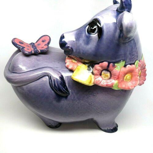 Vintage Metlox Purple Cow with Butterfly Cookie Jar