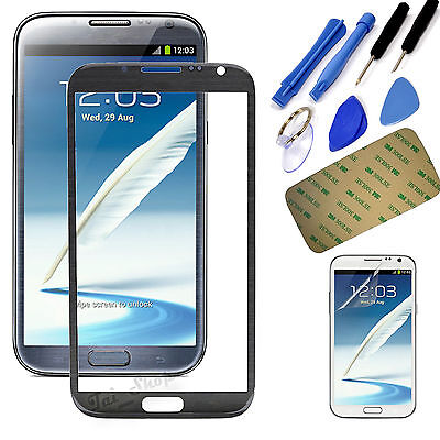 Grey Touch Screen Outer Glass Lens Cover for Samsung Galaxy Note2 II N7100 N7105