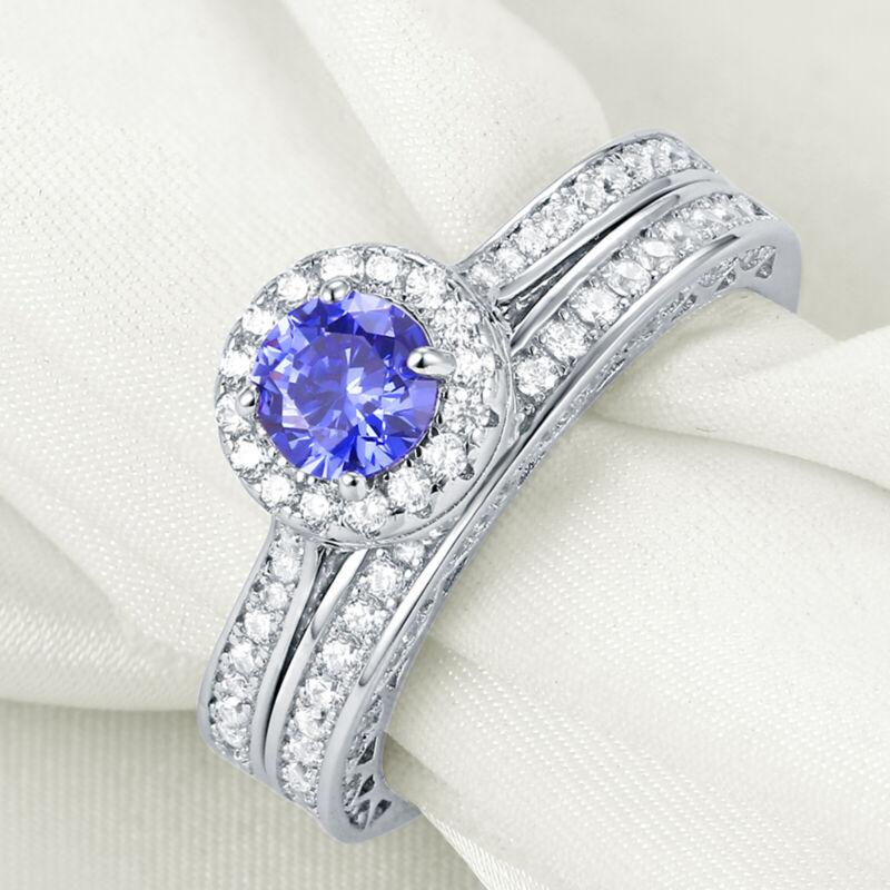 Newshe Wedding Engagement Ring Set Blue Tanzanite 925 Sterling Silver Cz Sz 5-12