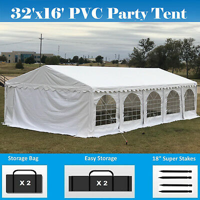 PVC Party Tent 32' x 16' White - Heavy Duty Party Wedding Carport Canopy