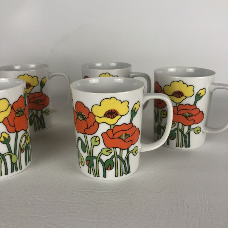 Fitz & Floyd Vintage Retro Mod Mug Cup - Set of 6 Green & Yellow Poppy Flower