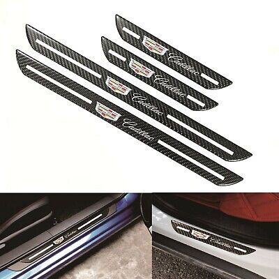 4Pcs Set Cadillac Carbon Fiber Car Door Welcome Plate Sill Scuff Cover Panel