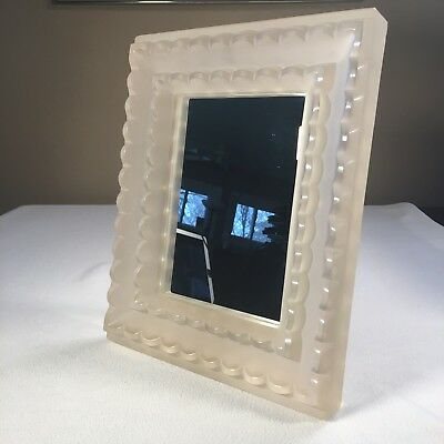 """Antique Art Deco Freestanding Mirror Frosted Glass Frame 10.5 LBS 11.5""""x 14"""""""