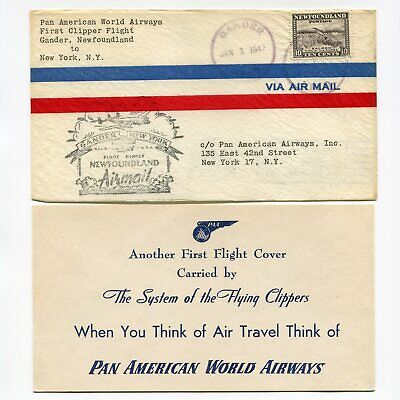 Newfoundland 1947 Pan American Clipper First Flight Cachet with Card USA