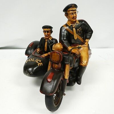 RARE Resin Police Side Car VINTAGE Statue Figurine Large Collectible Decor
