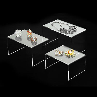 3 Pack Clear Acrylic Risers Jewelry Display Stands 5 6 7