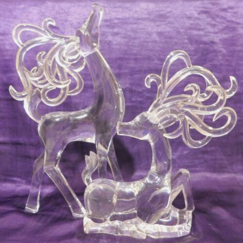 "Set of 2 Vintage Clear Acrylic REINDEER 9.5"" & 7.5"" lucite Dee figures"