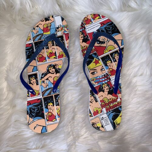 DC Wonder Woman Flip Flops Graphic Glitter Size Large 9/10