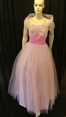 50s VINTAGE DRAMA QUEEN TWO TONE PINK TULLE SHELF BUST PARTY PROM DRESS XS-S 50s Prom Queen