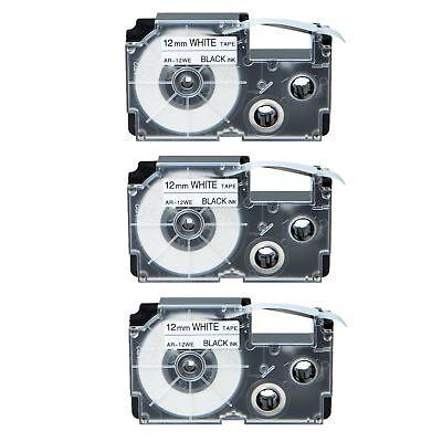 3pk Xr-12we Black On White Label Tape For Casio Kl-780 750b 7200 1500 750ba 12